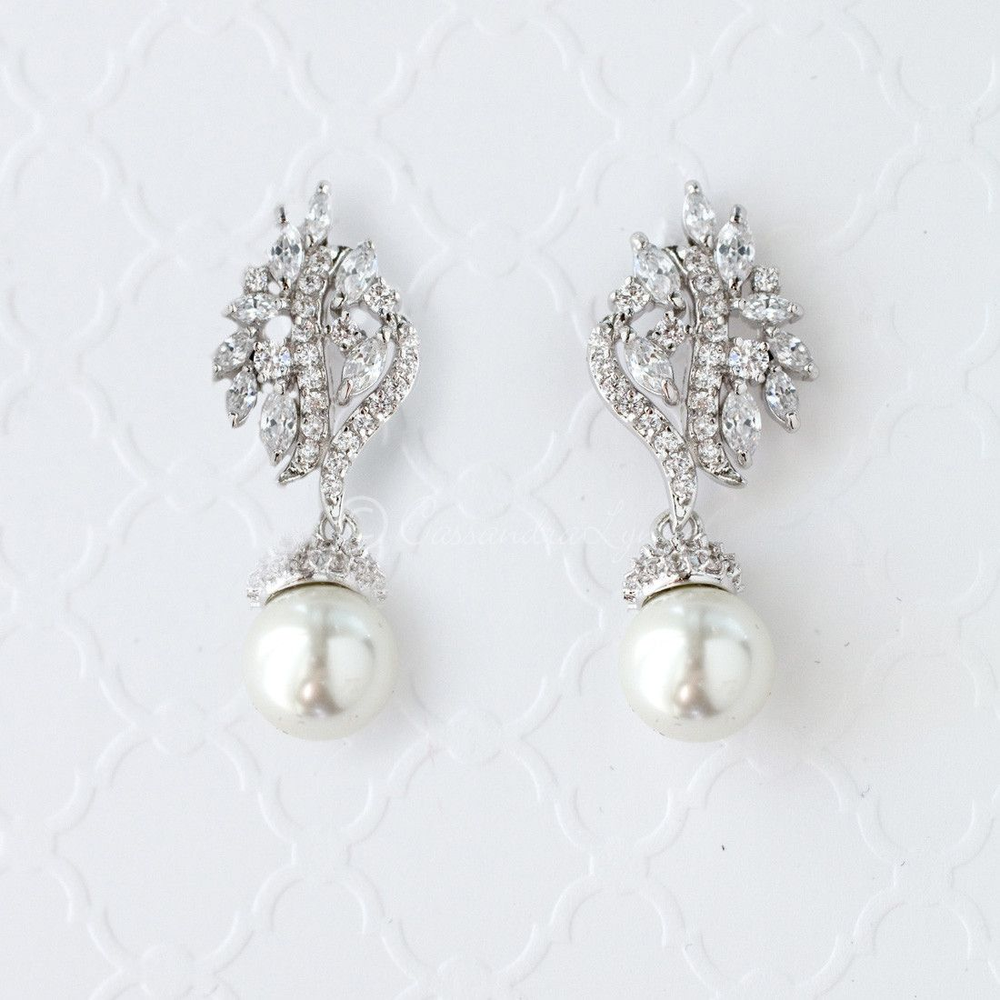 cubic zirconia studs gold plated cubic zirconia dangle earrings bridal pearl earrings pearl and flower earrings Bow classic pearl studs
