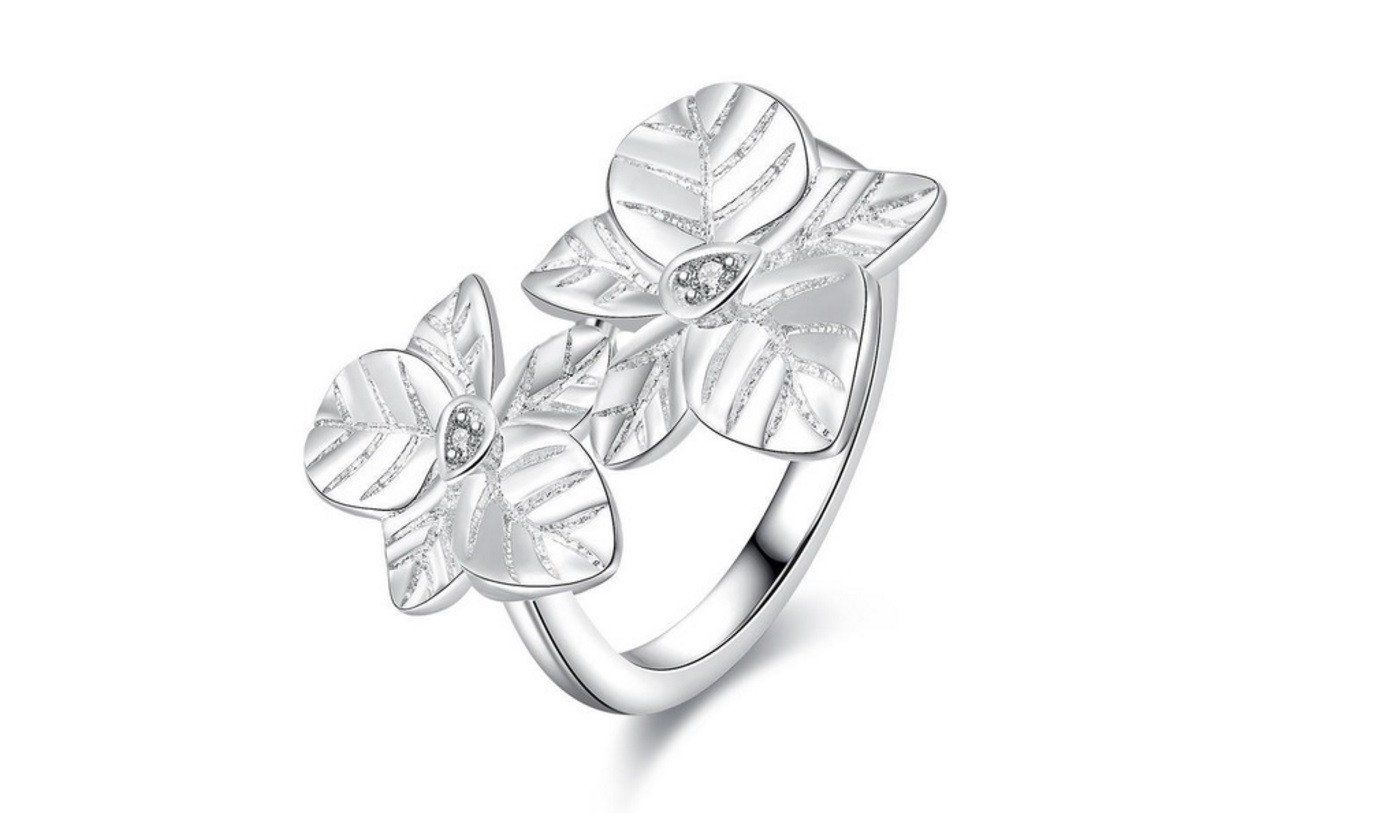 Silver Plated Double Leaf Shape Fashion Ring (8)