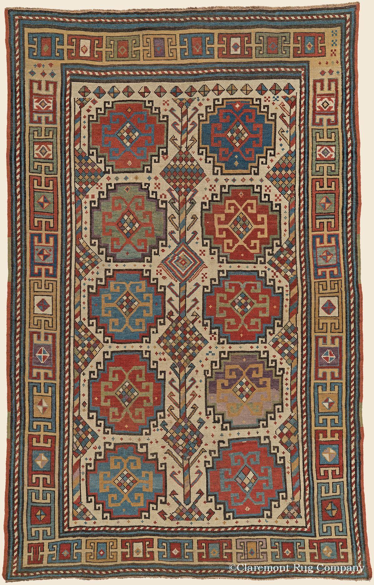 Moghan southwest caucasian antique rug 4 39 2 x 6 39 6 2nd quarter 19th century click to - Alfombras contemporaneas ...