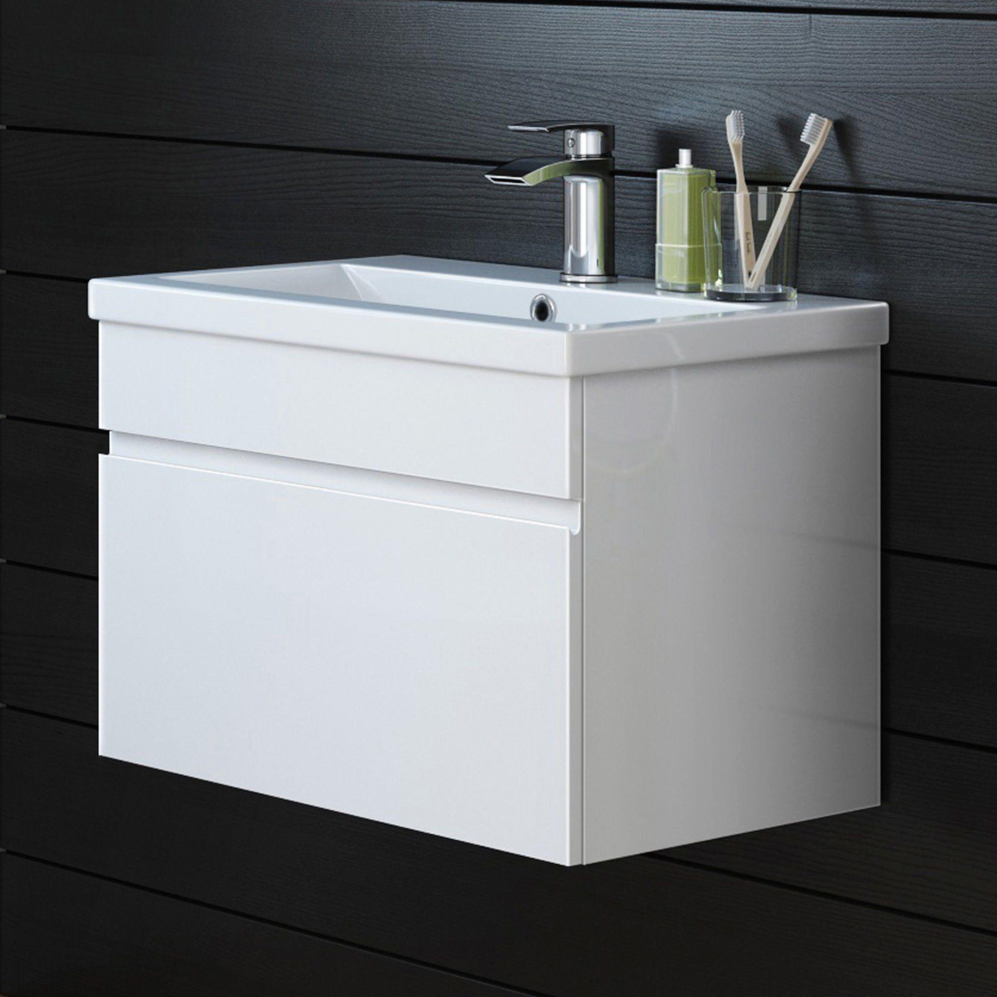 600mm Trent High Gloss White Basin Cabinet - Wall Hung   High gloss ...