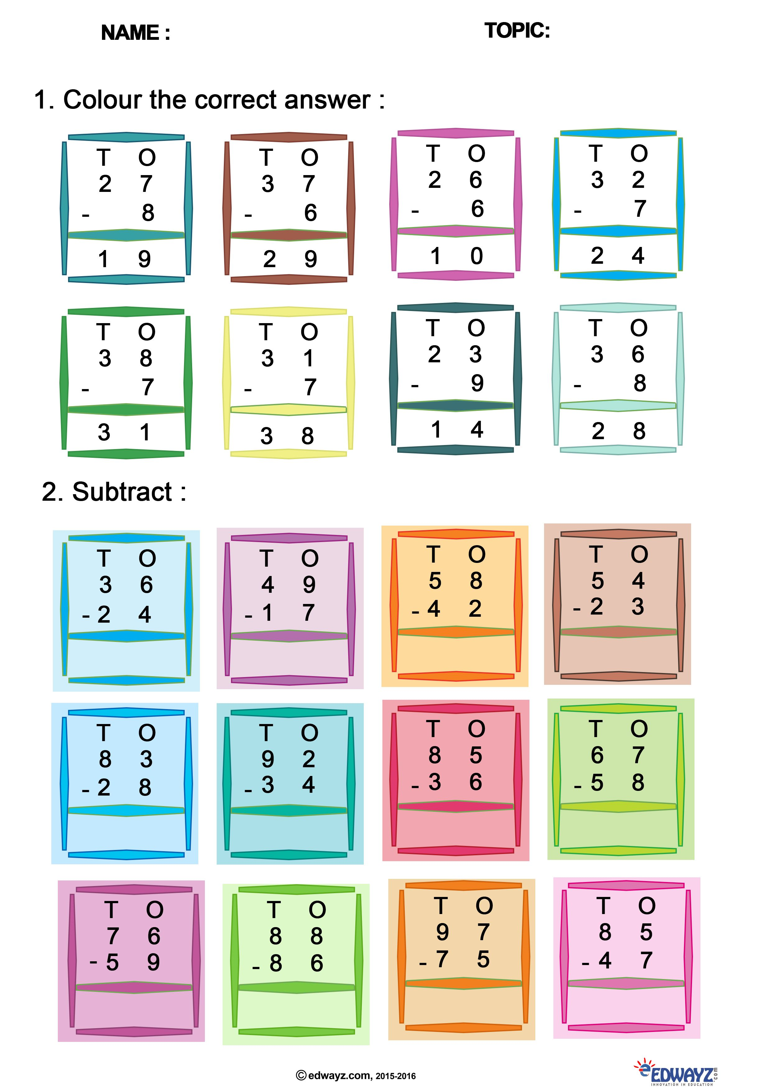 Free Printable Worksheet For Math Of Class 1 Subtract The