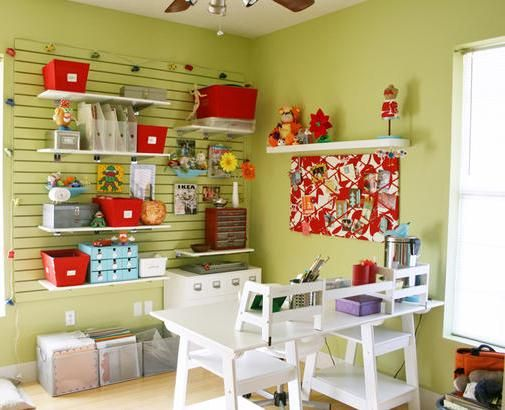 Furniture, Green Room With The Beautiful Craft Room Furniture Ideas That Looks So Neat And Great With The Amazing Arrangement Layout With The Smart And Beautiful Design And Great Decoration With White Table And Shelf ~ Furnish Your Small Room With The Craft Room Furniture Ideas