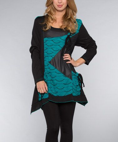 Another great find on #zulily! Black & Teal Fabric Block Top by Dalin #zulilyfinds