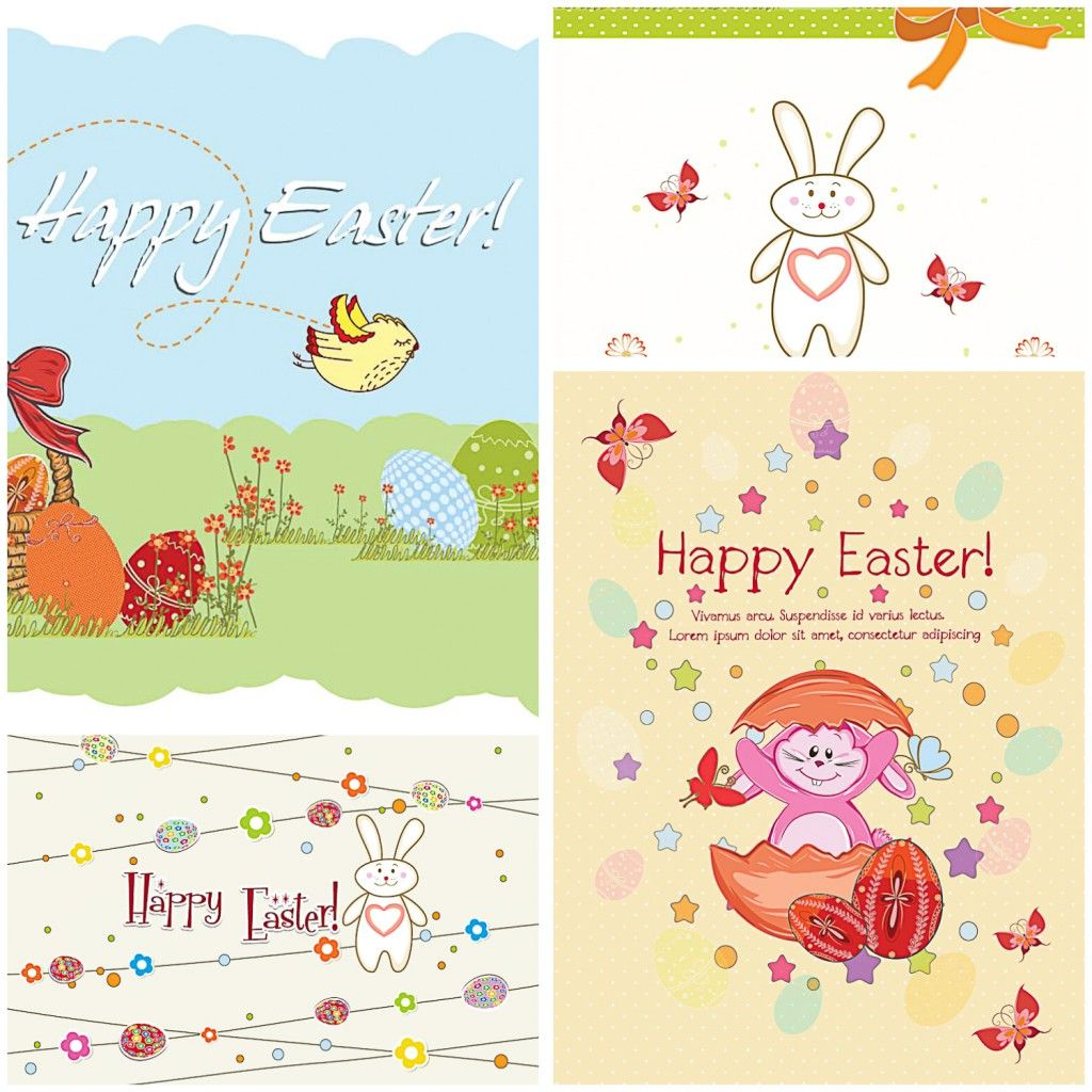 Happy Easter card set vector | CGIspread | Free download