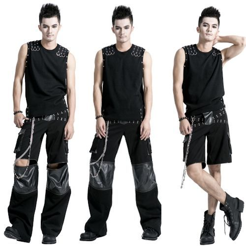mens black studded punk goth scene hippie pants trousers