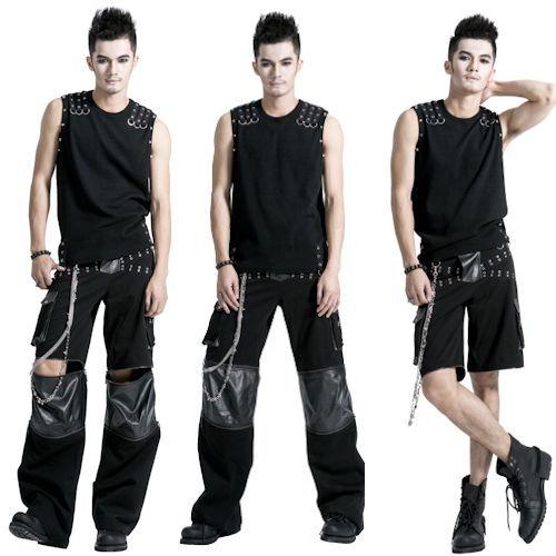 Mens Black Studded Punk Goth Scene Hippie Pants Trousers ...