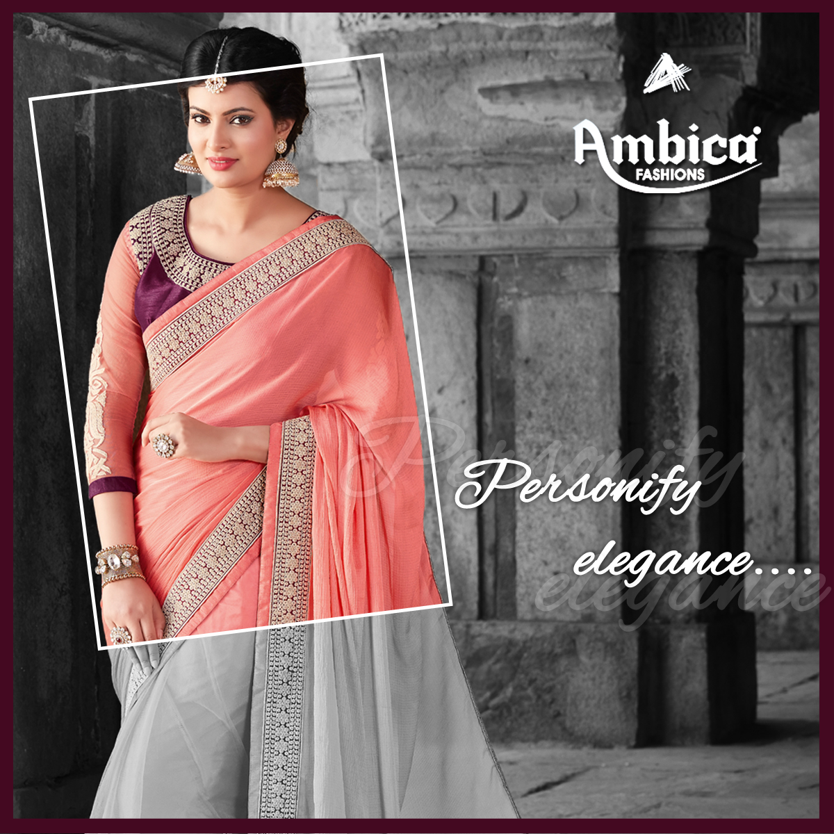 Personify elegance with Ambica Fab Design -- For more details contact us on: 99799-00476 | www.ambicasurat.in #SareesInAmbica #SareesCollection #FashionableSarees #AmbicaCollection