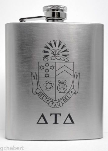 Delta Tau Delta Fraternity Laser Engraved Crest 8 oz Stainless Steel Flask NEW