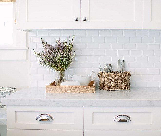 Kitchen Carrara Marble Beveled White Subway Tile Backsplash