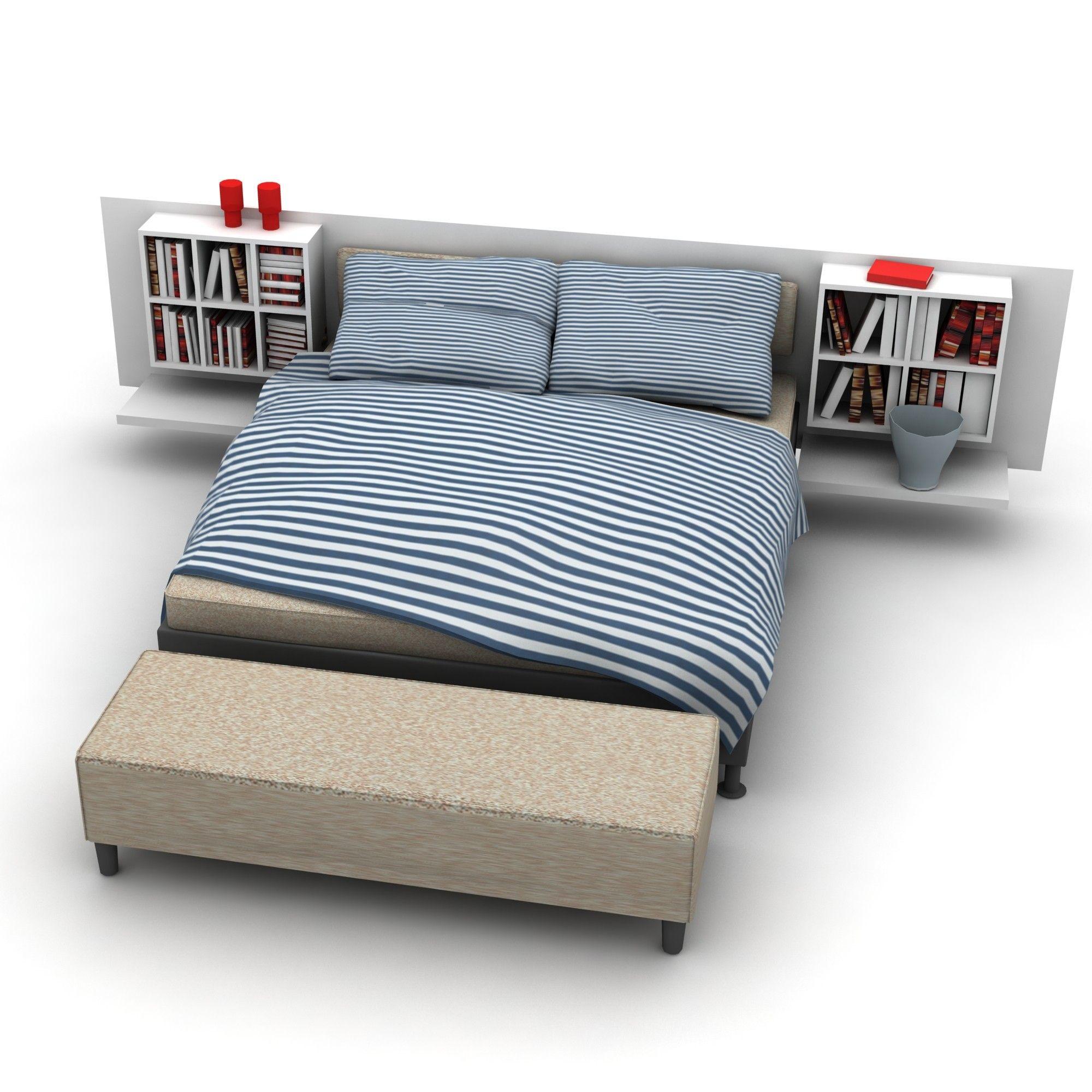 Bed bedroom furniture d max d model dmodeling pinterest