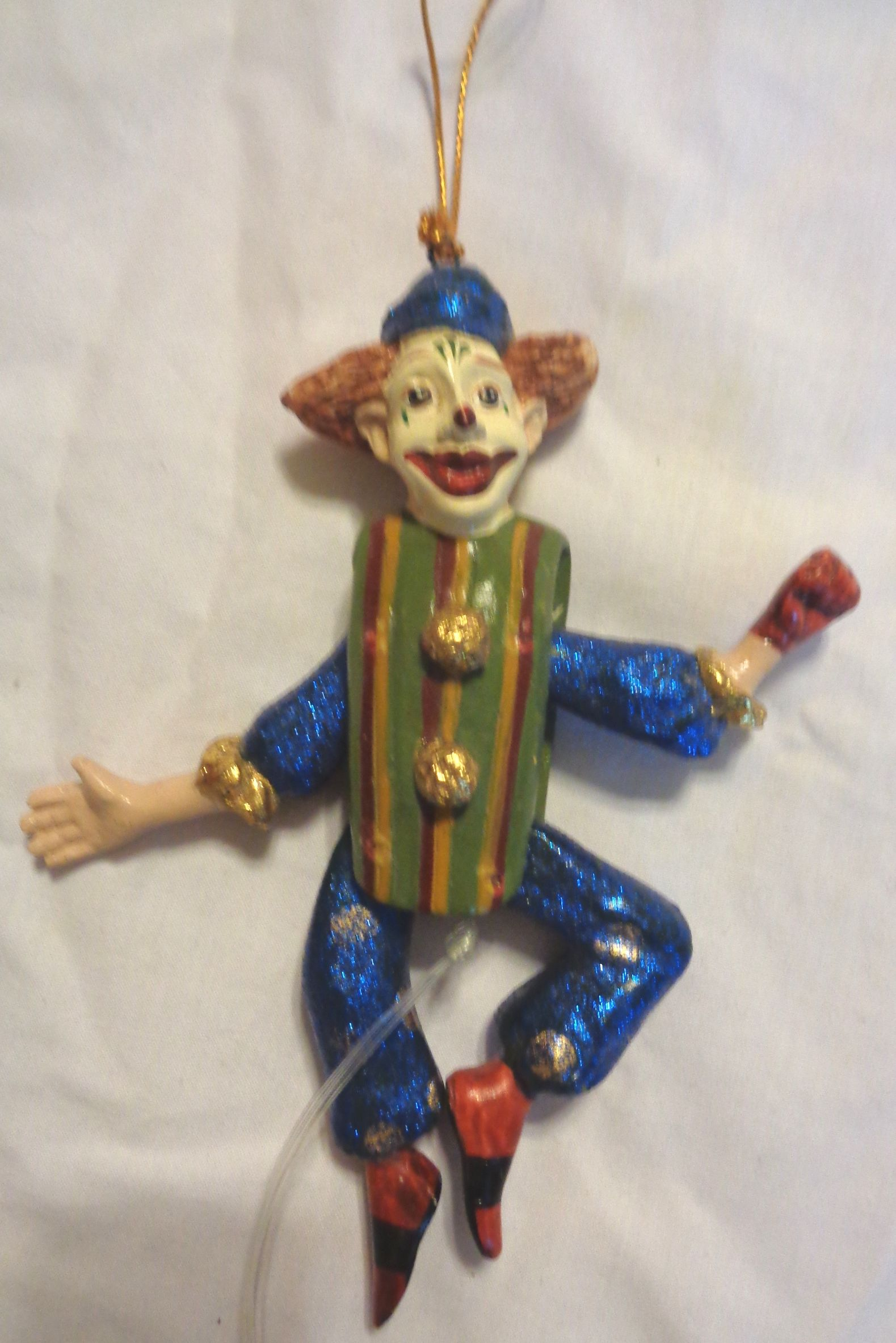 Joker Christmas Ornament.Vintage Germany Wood Christmas Ornament Vintage Clown Or