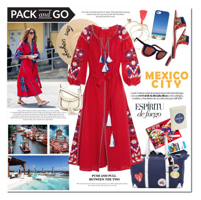 """""""Mexico City Red Dress"""" by akchesunel ❤ liked on Polyvore featuring Kate Spade, Isabel Marant, Roberto Coin, March11, Chloé, Ottoman Hands, Grey Ant, Casetify, Dolce&Gabbana and H&M"""