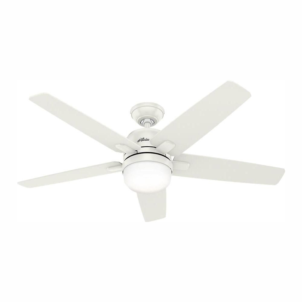 Hunter Cavera Wifi Enabled Apple Homekit Google Home Alexa 52 In Indoor Fresh White Ceiling Fan With Light Kit And Remote 59557 The Home Depot Ceiling Fan With Light White Ceiling Fan With Light