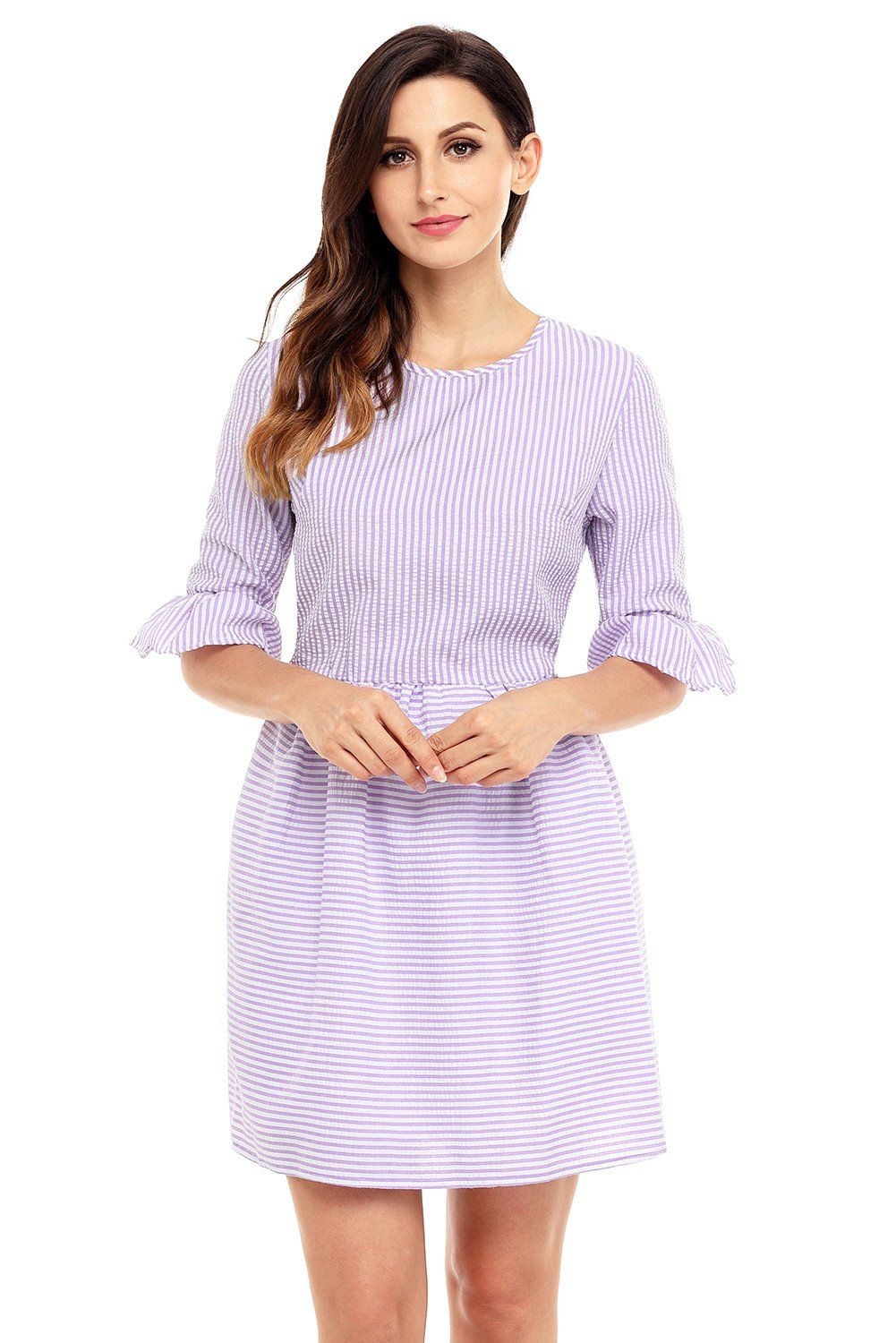 eeb0e243e76 Chic Purple White Stripe Flounce Sleeve Seersucker Dress ...