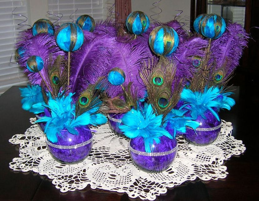 Stunning Purple Peacock Themed Wedding Table Centerpiece With Teal For Melissa