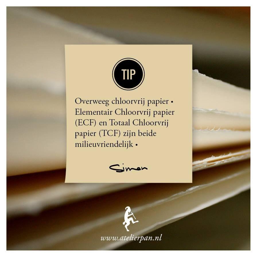 • GROENE TIP van PAN •  Overweeg chloorvrij papier • Elementair Chloorvrij papier (EFC) en Totaal Chloorvrij papier (TFC) zijn beide milieuvriendelijk •  Hoewel het meeste papier in de EU tegenwoordig chloorvrij gebleekt is, wordt er nog wel onderscheid gemaakt in elementair chloorvrij (ECF) en totaal chloorvrij (TCF).