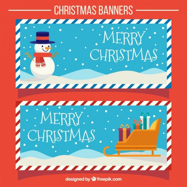 Christmas Vintage Banners With Sleigh And Snowman Free Vector