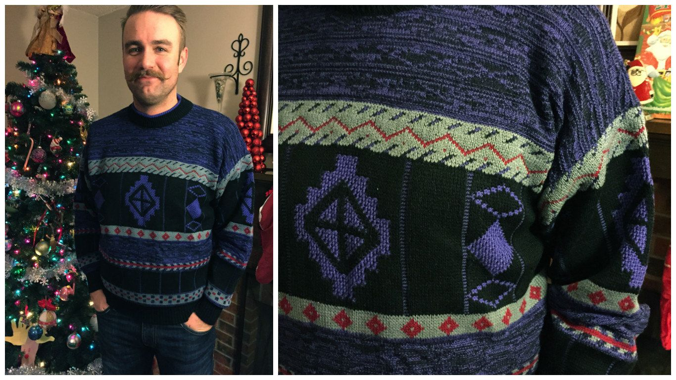 80's Expressions International Male Aztec Sweater Black, Purple ...