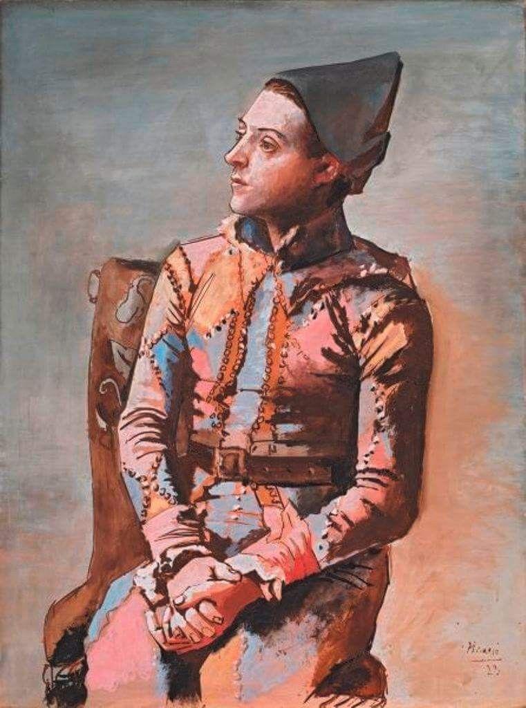 Pablo Picasso Arlecchino Seduto 1923 Olio Su Tela 130 2 X 97 1