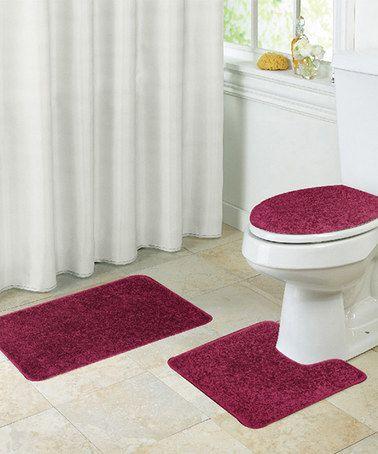 Burgundy Layla Three Piece Shaggy Bathroom Rug Set Bathroom Rug