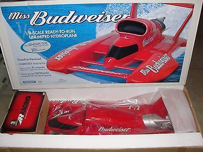 ﹩1,750 00  NOS NEW MISS BUDWEISER 1/8 SCALE GAS RC BOAT