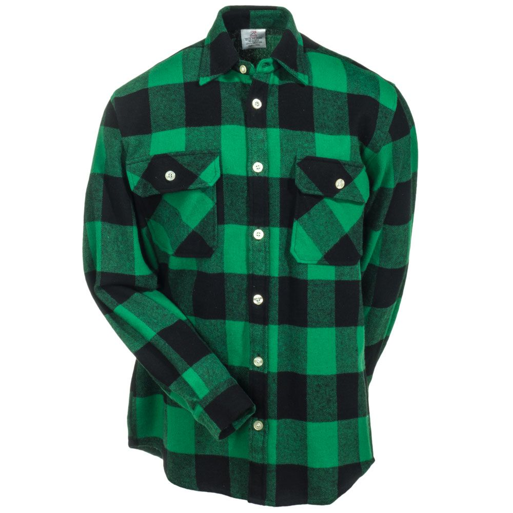 Rothco Men s 4739 GRN Green Black Buffalo Plaid Flannel Shirt ... 616d47df0a3