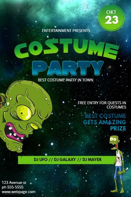 funny halloween costume party flyer template postermywall party