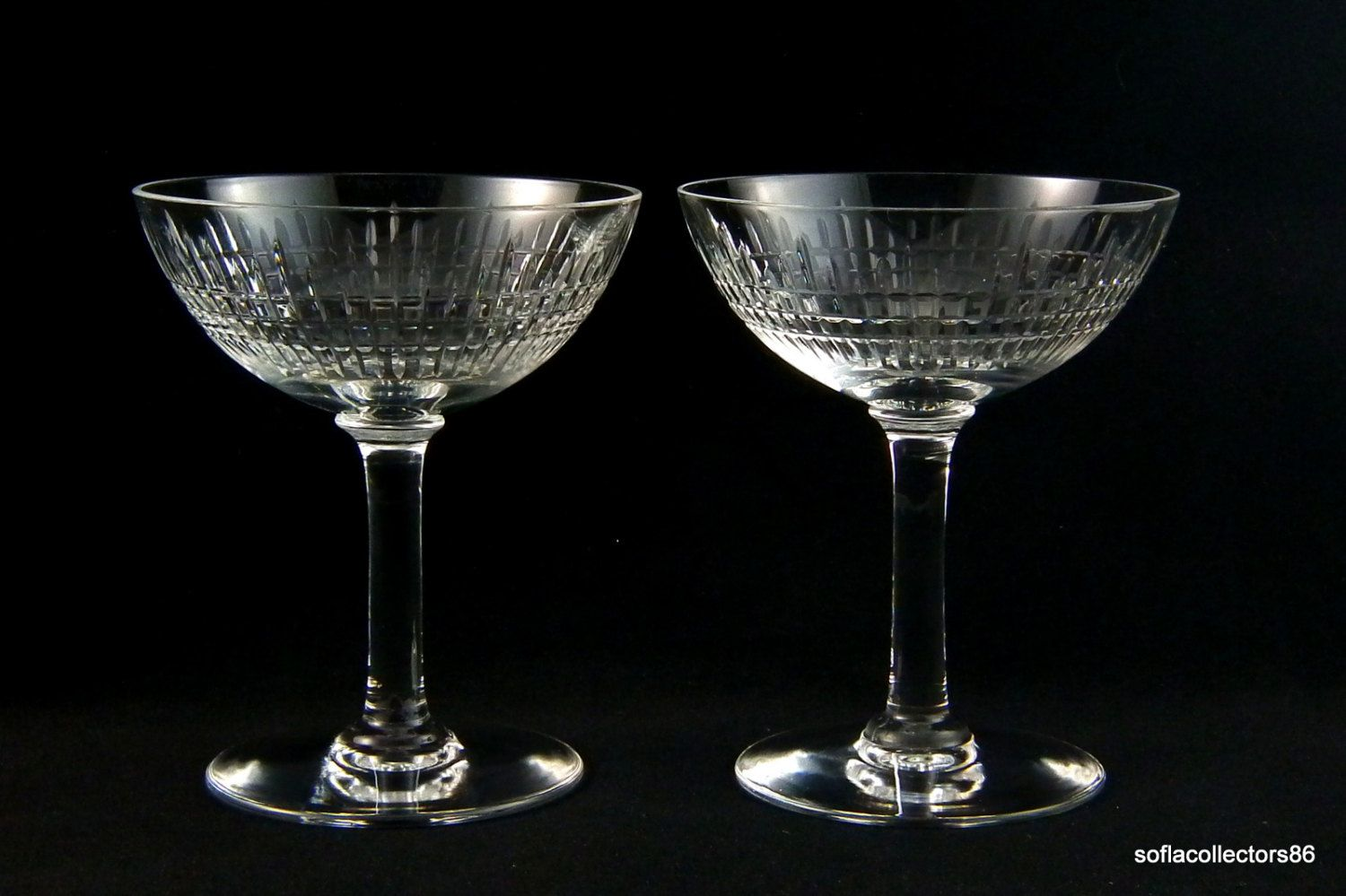 Baccarat Crystal Nancy Cut Champagne Glasses / Champagne Coupes ...