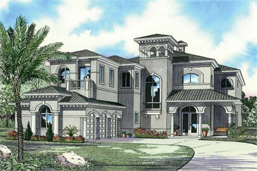 Luxury House Plan Mediterranean Style 5 Bed 5872 Sq Ft Mediterranean Style House Plans Mediterranean House Designs Mediterranean House Plan