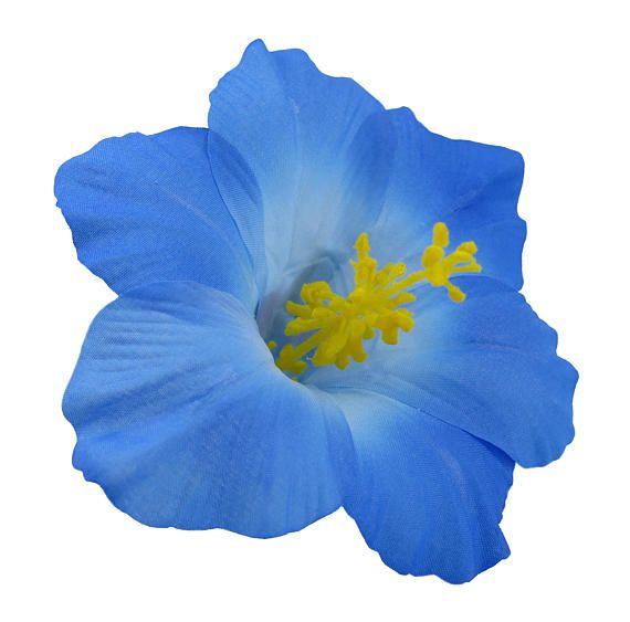 Blue Hawaiian Hibiscus Realistic Flower Hair Clip Flowers In Hair Flower Hair Clips Baby Hair Bands
