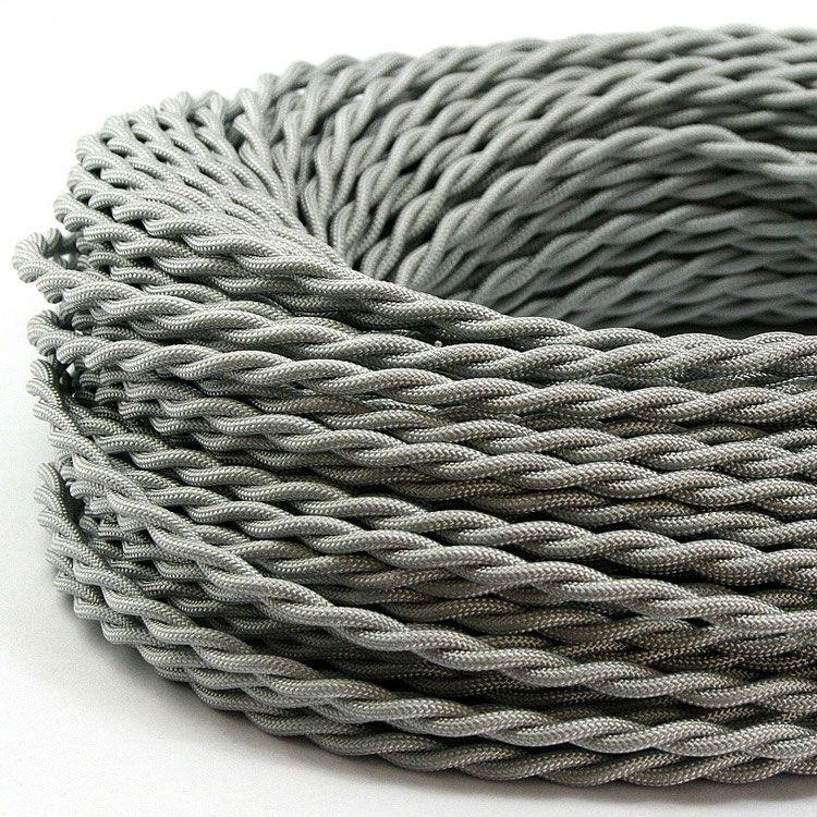 Textilkabel Stoffkabel silber 3 adrig gedreht