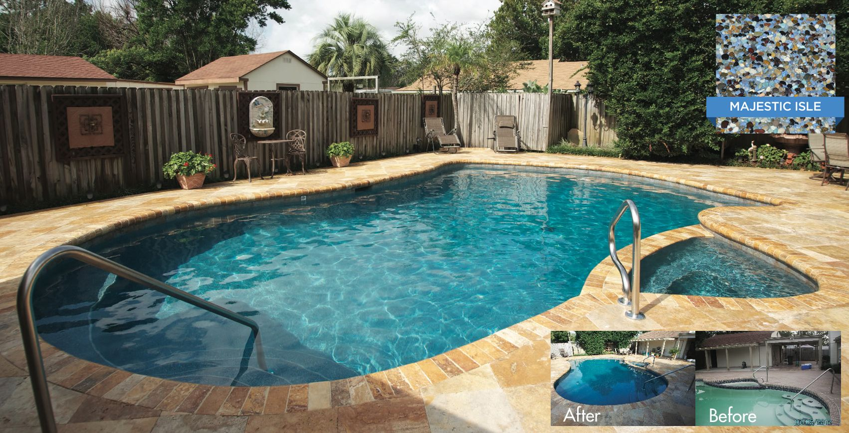Crystal stones majestic isle adds life and beauty to this for Stone swimming pool