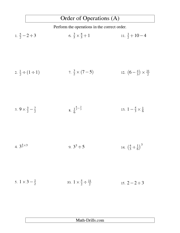 Order of Operations Worksheet -- Fractions Order of Operations ...