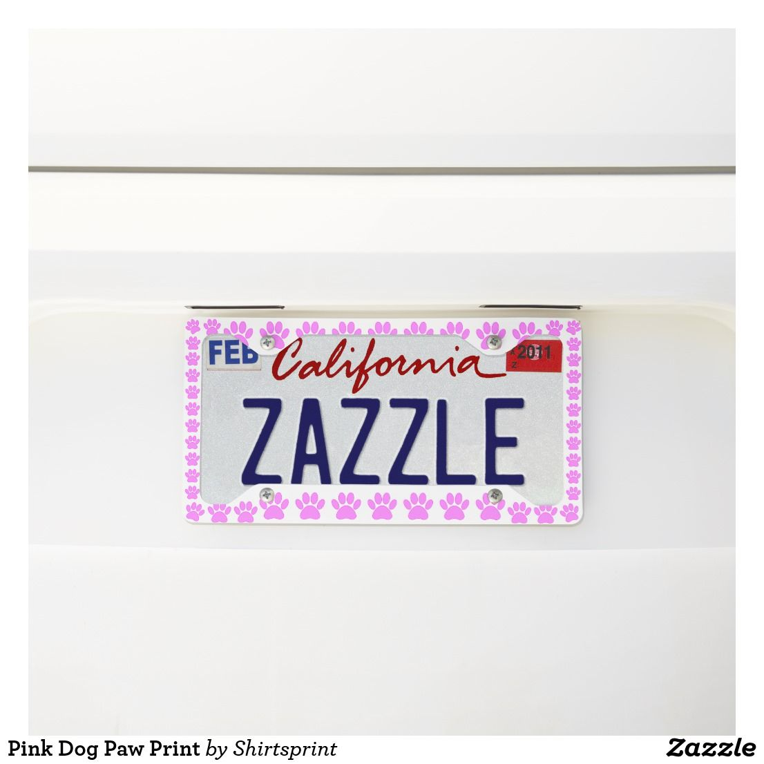 Pink Dog Paw Print License Plate Frame