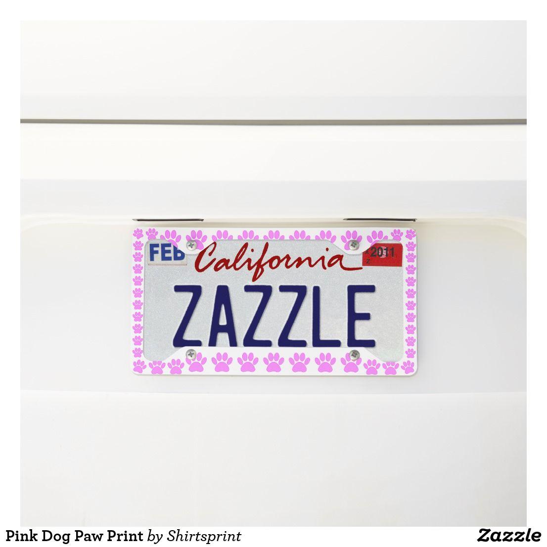 Pink Dog Paw Print License Plate Frame
