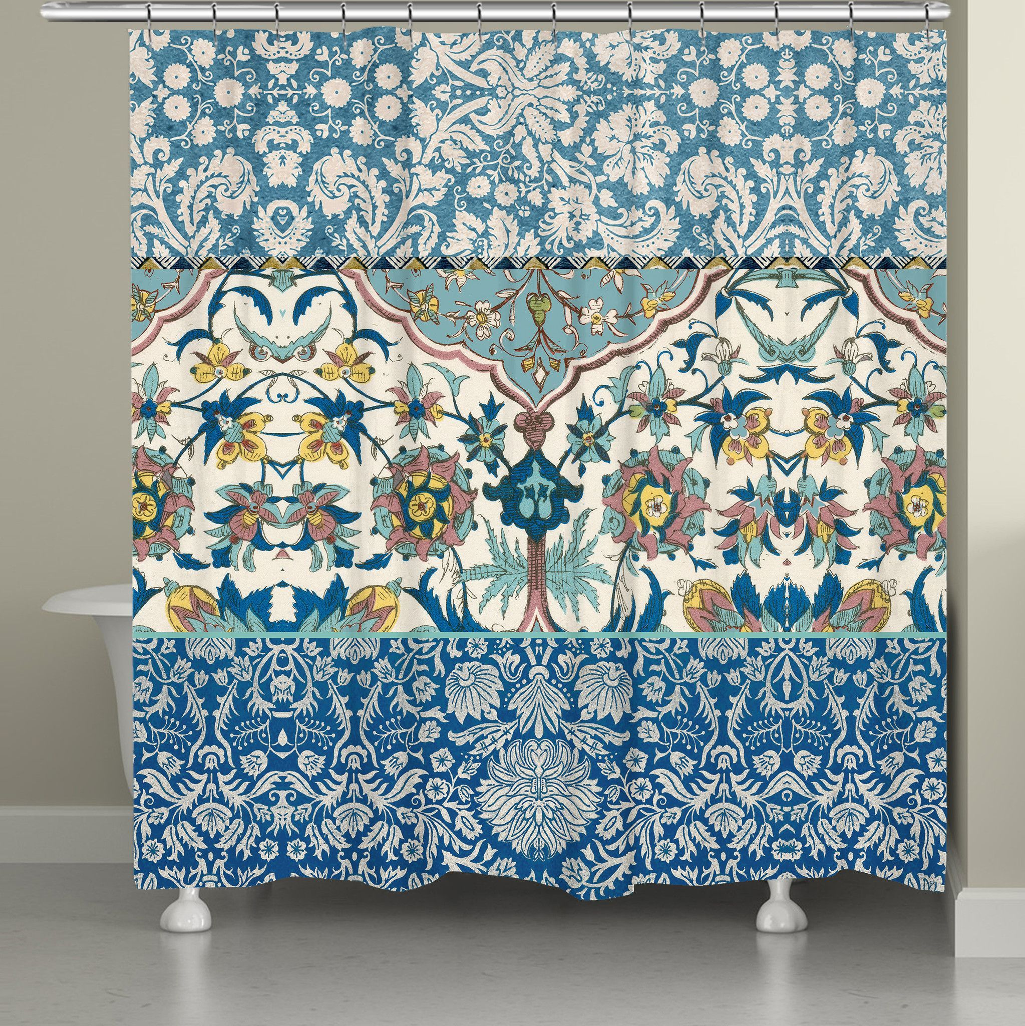 Royal Blue Bohemian Tapestry Shower Curtain Victorian Pattern Tapestry And Bohemian