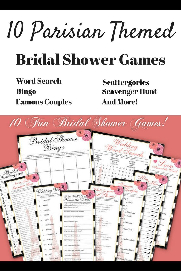 10 Parisian themed bridal shower games that you can download and print to use immediately! #ad #bridalshowergame #BridalShowerIdeas #parisian #paris #EiffelTower #InstantDownload #Printable
