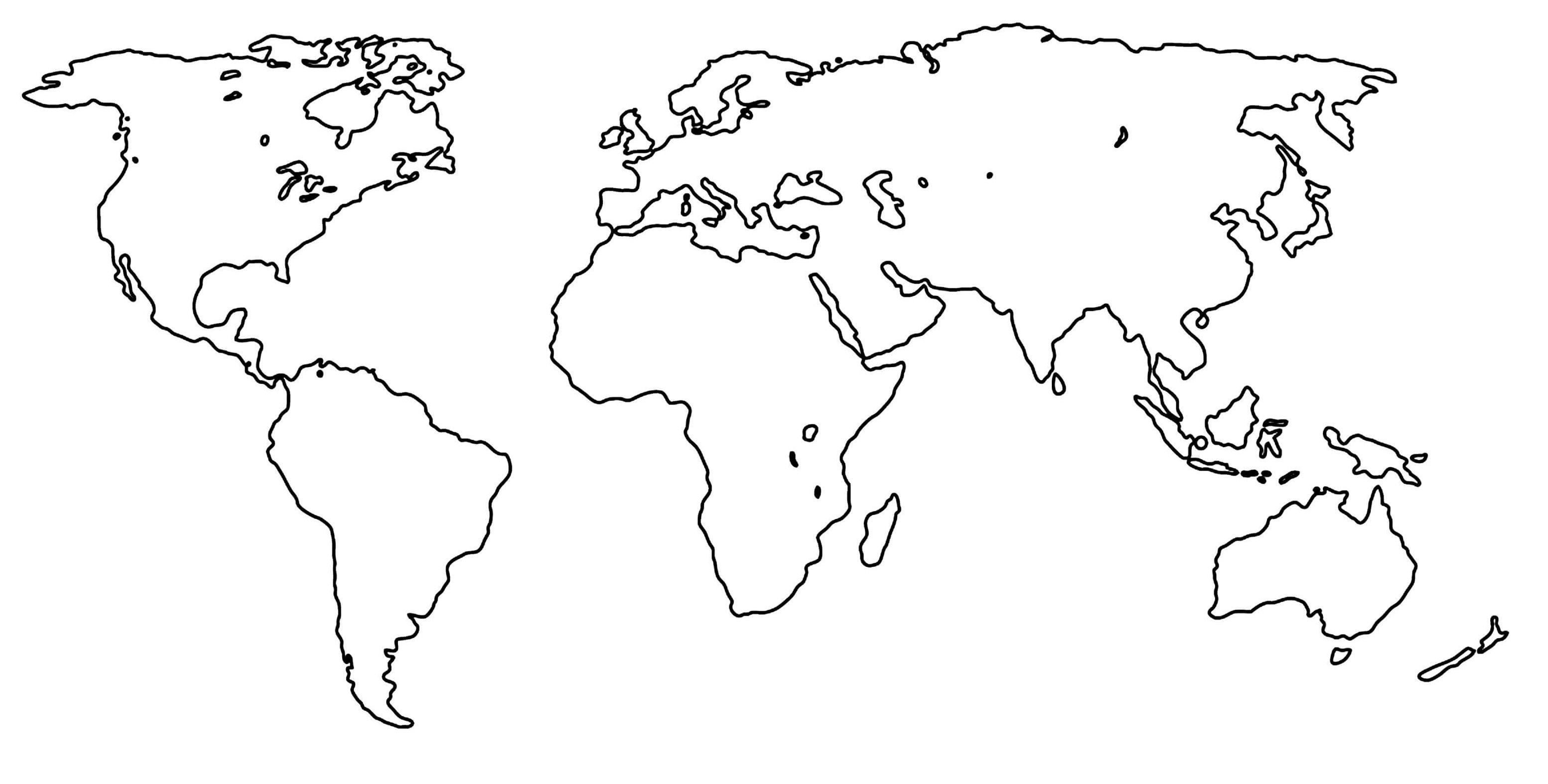 Outline Map Of The World New World Map Outline Free