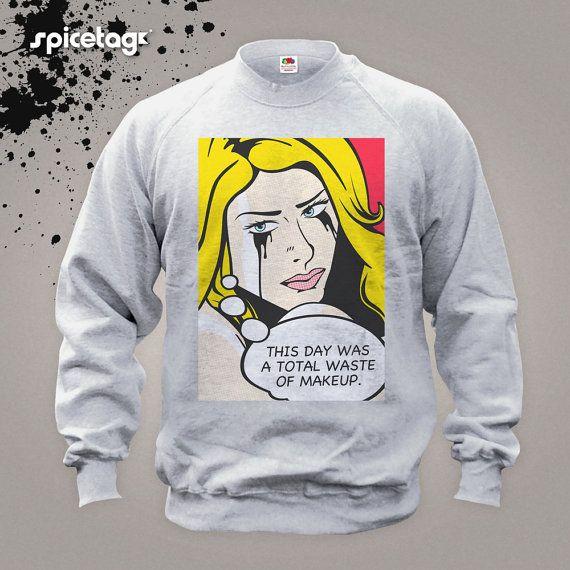 Makeup Sweater Pop art Jumper Fashion Sweatshirt Funny Colourful Design Roy Lichtenstein Andy Warhol Christmas Xmas Heather Grey S-XXL Shirt...