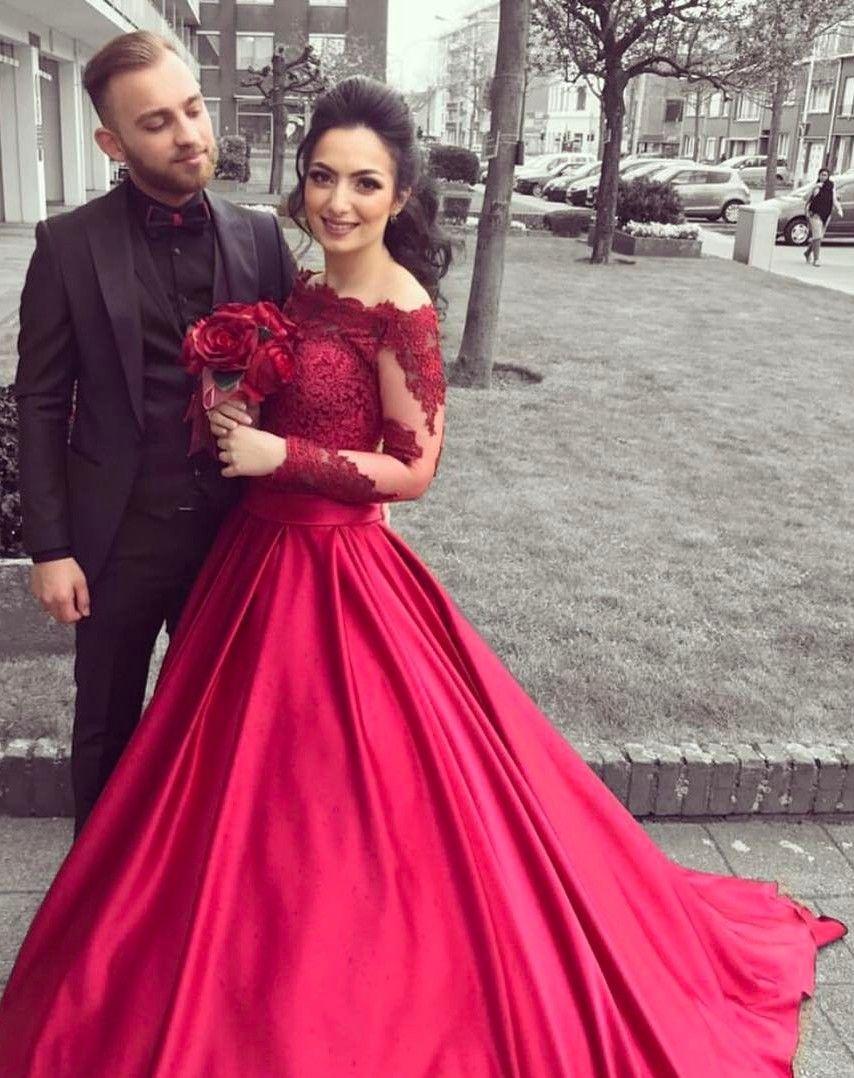 fashion rote brautkleider mit Ärmel spitze a linie