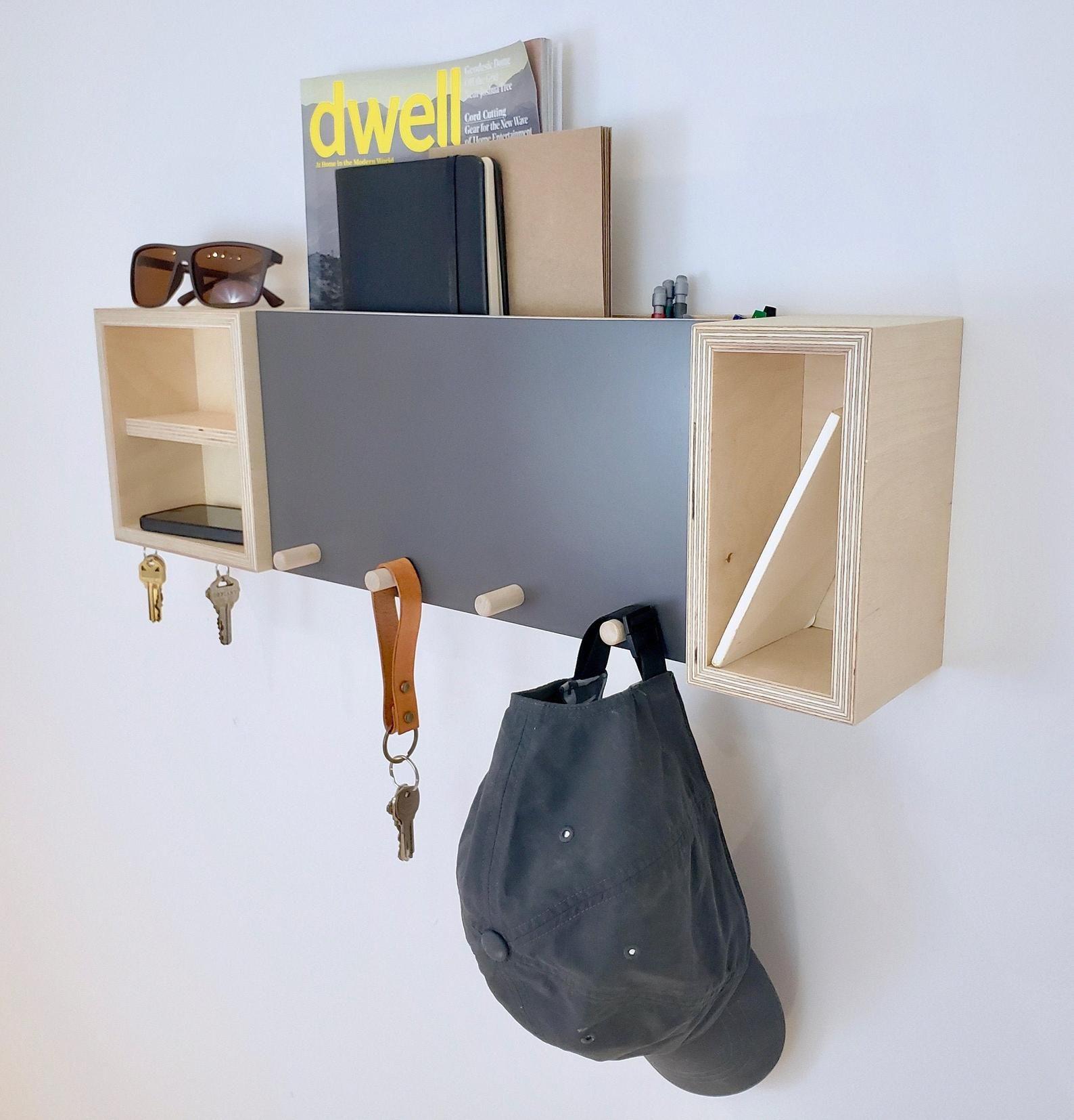Entryway Organizer, Mail Organizer, Shelf With Hooks