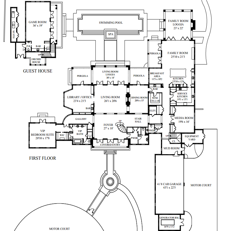 35 9 Million Newly Built 16 000 Square Foot Lakefront Mansion In Palm Beach Fl Luxury House Plans Mansion Floor Plan Large House Plans