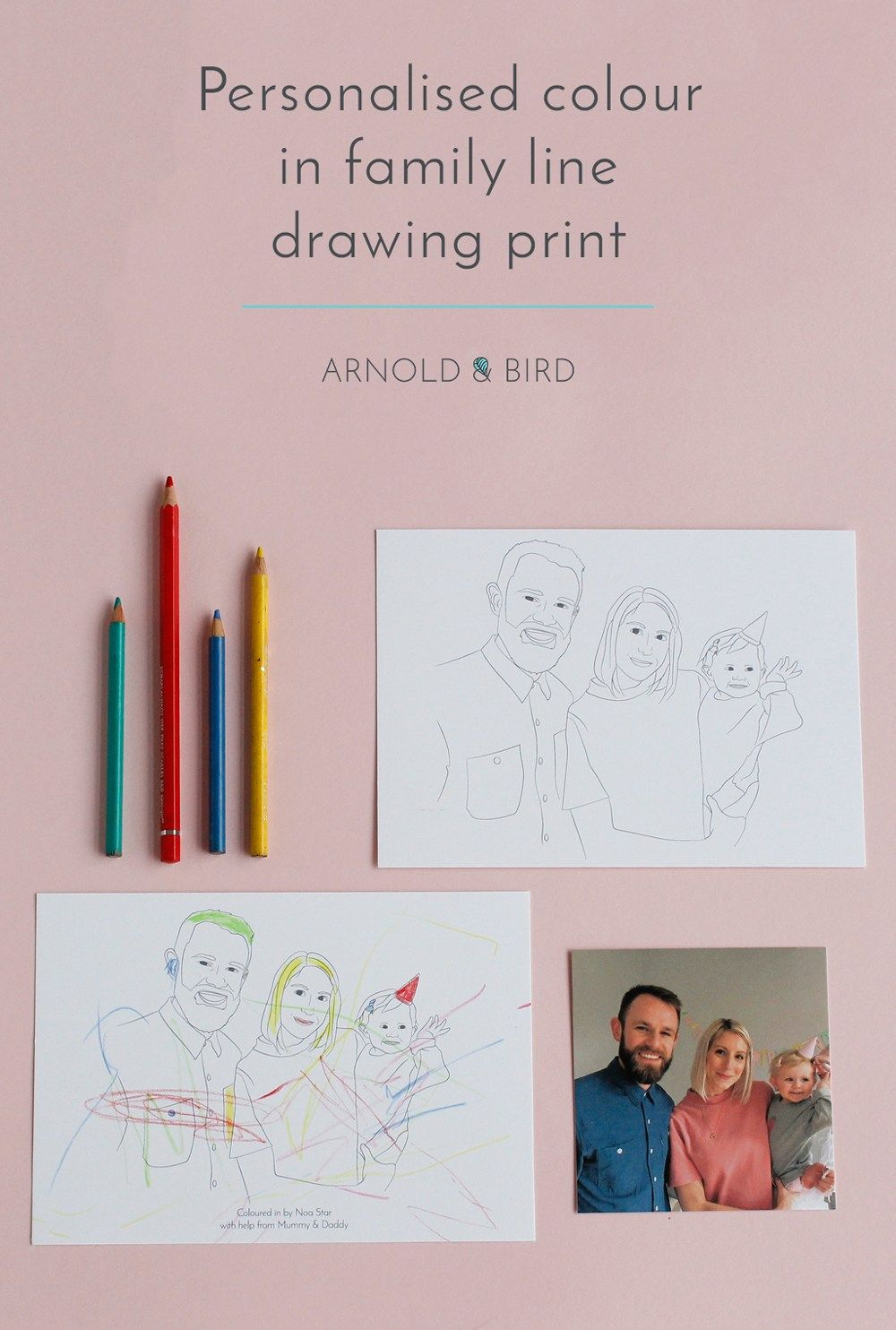 Colour in family portrait line illustration by Arnold & Bird