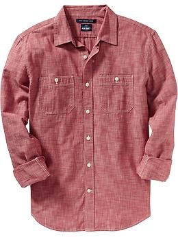6429cb686ff1f Always a solid investment. Men's Slim-Fit Chambray Shirts @ Old Navy