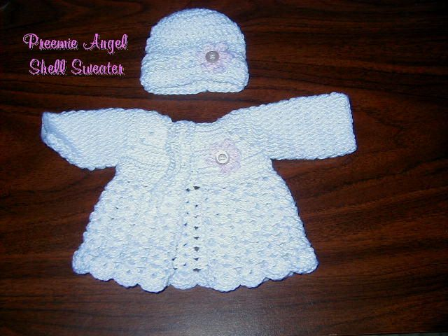 Preemie Angel Shell Sweater free crochet pattern Crochet ...