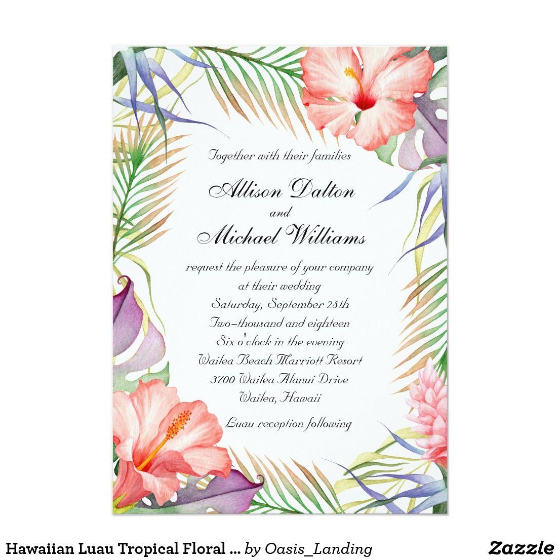 Hawaiian Luau Tropical Floral Wedding Invitation This Colorful