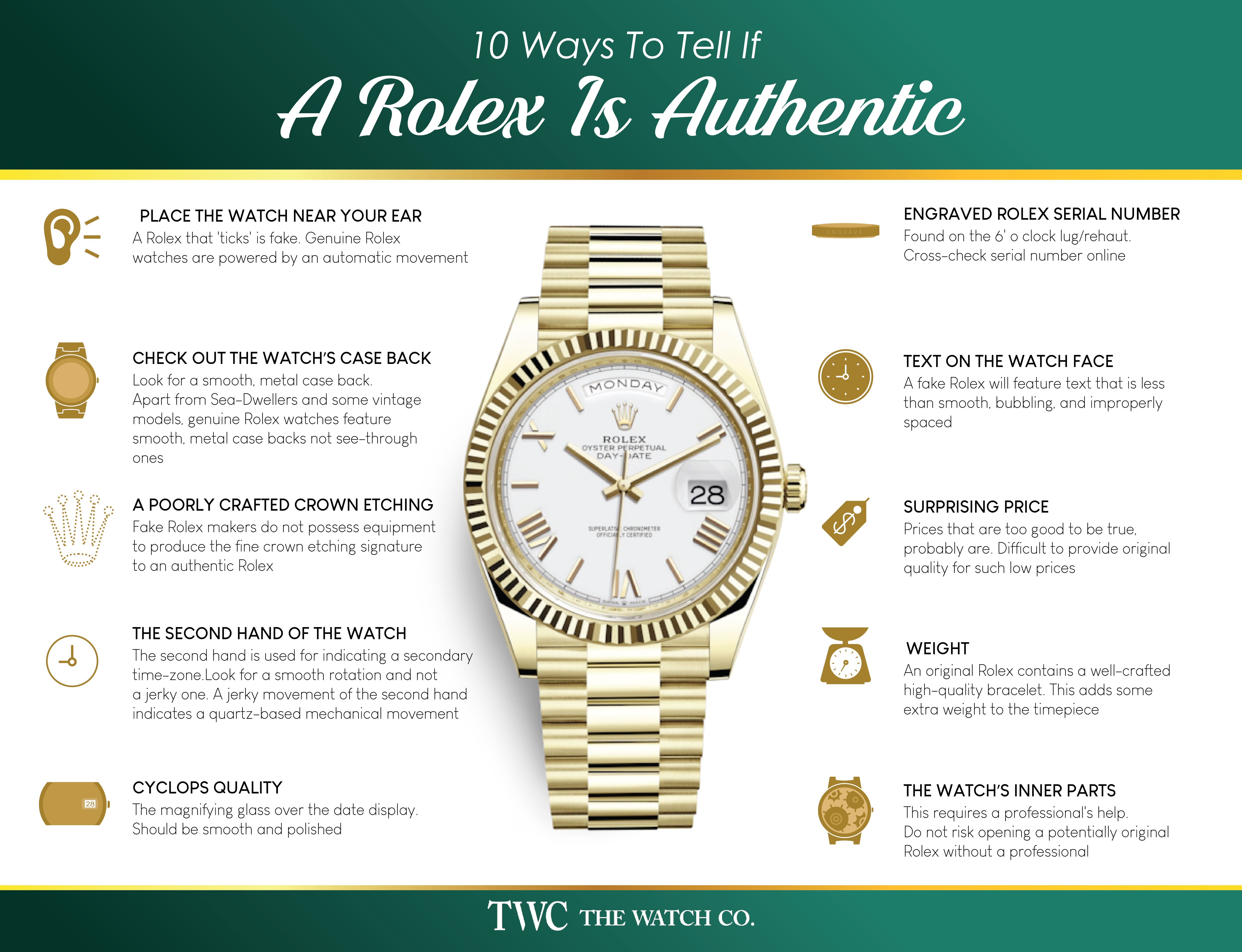 how to tell if a rolex bracelet is real