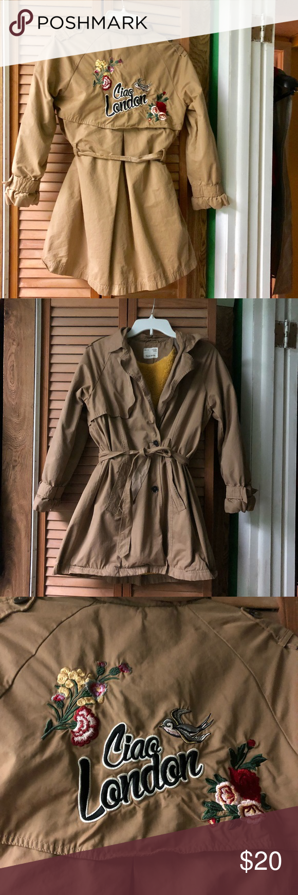 73a43cfdf54f Zara girls trench coat size 13 14 petite xs