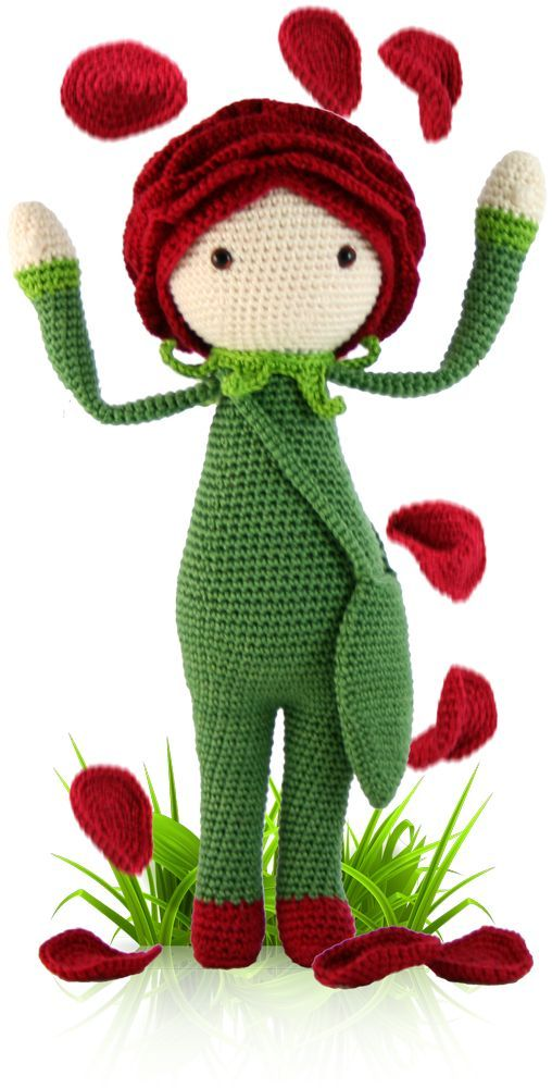 amigurumi pattern of doll with rose hat | Rose Roxy - crochet amigurumi pattern by Zabbez / Bas den Braver