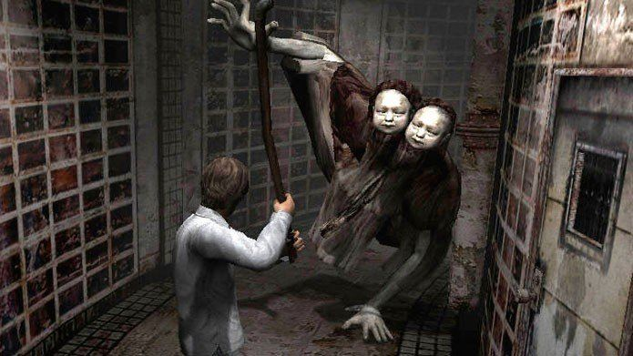Twin Victim / Doublehead (Silent Hill 4: The Room)  All right, now this is just weird.  Twin Victim/Doublehead is a pair of conjoined twins in a smock, walking on adult hands. We'd like to know what their creator had for breakfast that day.  While the Twin Victim is scary enough to look at, their behaviour is equally chilling. Upon first seeing you, they don't come flying or running at you – instead, they simply stand still, stare, and point.